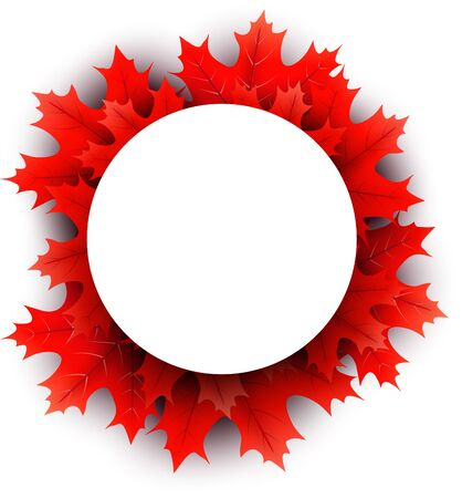 White paper round space on autumn background with beautiful red maple leaves. Season decoration - Vector