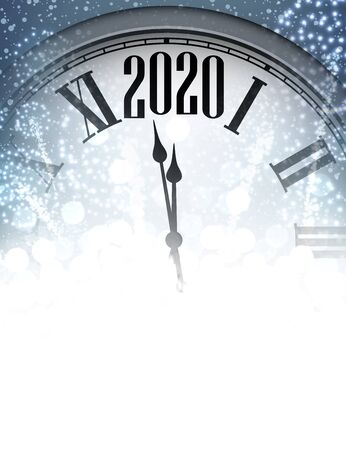 Christmas illustration. Blue shining 2020 New Year background with clock. Winter decoration - Vector Stockfoto - 131216643