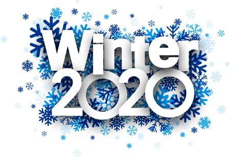 White winter 2020 background with blue beautiful snowflakes. Vector illustration. Stockfoto - 131216525