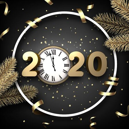 Black shiny happy New Year background with 3d 2020 nubmers and clock. Winter decoration - Vector Stock Illustratie