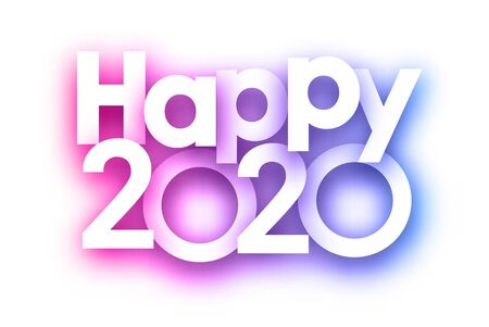 Purple spectrum Happy 2020 new year festive sign on white background. Christmas decoration - Vector