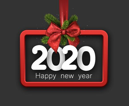 2020 happy New Year background with red 3d frame and satin ribbon with beautiful bow. Winter decoration - Vector Stockfoto - 131216974