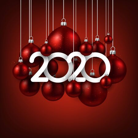 Happy new 2020 year. Christmas holiday illustration of realistic red balls with 2020 numbers. Winter decoration - Vector Stockfoto - 131219193
