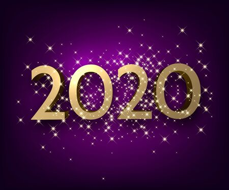 Purple shiny happy New Year background with golden 3d 2020 nubmers and stars.   Winter decoration - Vector Stock Illustratie