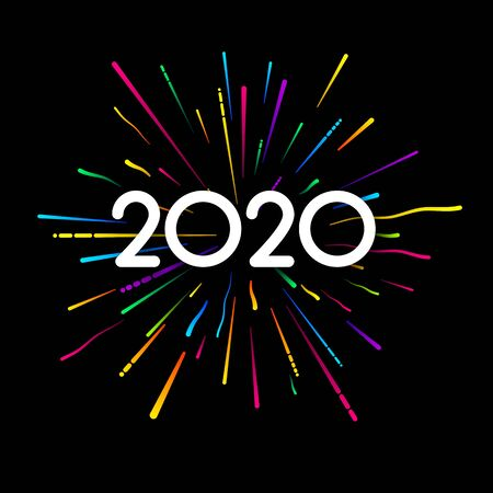 New Year 2020 black card with colorful firework. Festive design. Vector background. Stockfoto - 131219194