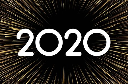 Festive 2020 New Year abstract poster with gold firework. Vector explosive background. Stockfoto - 131217530