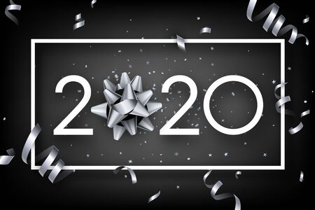 Black shiny happy New Year background with paper 3d 2020 nubmers and gift bow. Winter decoration - Vector Иллюстрация