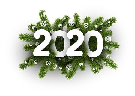 White 2020 background with fir branches and beautiful snowflakes. Greeting card or promotion poster template. Vector illustration. Ilustração