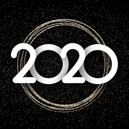 White 2020 New Year sign on black background with gold shiny pattern. Christmas greeting card or poster template. Vector illustration.