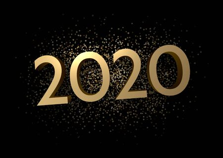 2020 new year sign with shiny gold letters and sand on black background. Christmas illustration - vector.