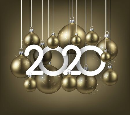 Happy new 2020 year. Christmas holiday illustration of realistic golden balls with 2020 numbers. Winter decoration - Vector  Иллюстрация