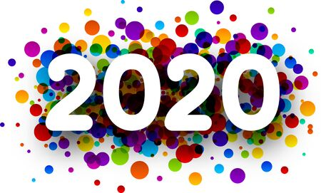 Happy New Year 2020 greeting card with colorful round confetti. Christmas decoration - Vector