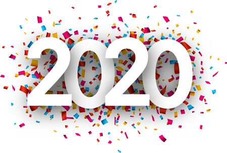 Happy New Year 2020 greeting card with colorful confetti. Christmas decoration - Vector