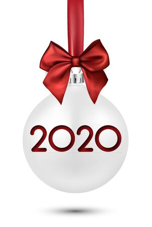 2020 New Year white ball with red satin bow. Greeting card or decoration. Winter decoration - Vector