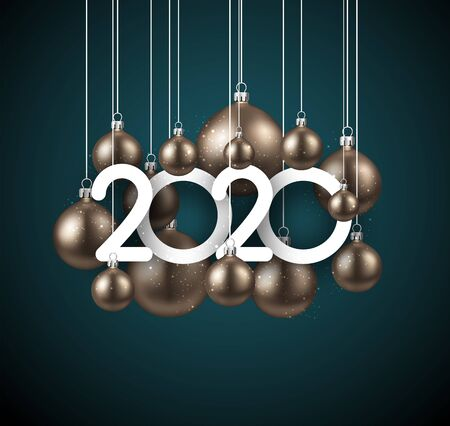 Happy new 2020 year. Christmas holiday illustration of golden realistic balls with 2020 numbers. Winter decoration - Vector