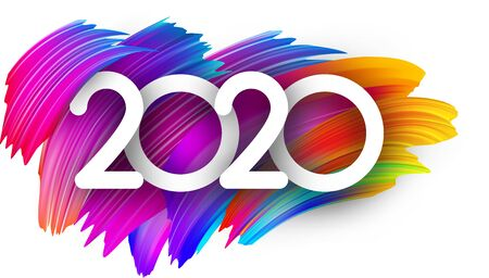 White 2020 new year background with spectrum brush strokes. Illustration of colorful gradient brush design. Banner or poster template - Vector Illustration