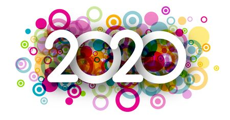 White Happy New Year 2020 poster with abstract colorful geometric pattern. Vector background.