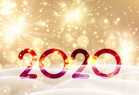 Christmas and New Year 2020 shiny gold card with firework and snow. Vector background.