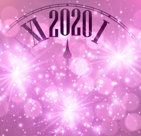 Pink shining bokeh 2020 New Year background with clock. Beautiful Christmas greeting card. Vector illustration.