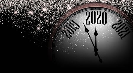 Checkered 2020 New Year shining background with rose clock. Vector illustration.