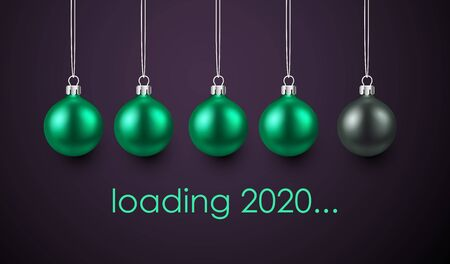 Loading 2020 New Year creative poster with progress bar made of green Christmas balls. Vector background.