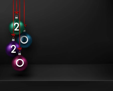 Black Happy New Year 2020 poster with colorful 3d Christmas balls. Vector background. Stock Illustratie