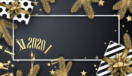Grey 2020 New Year banner with white frame, golden clock, fir branches and gifts. Christmas greeting card or poster template. Top view illustration. Vector background. Stock Illustratie