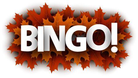 Autumn paper bingo letters over orange maple leaves - Vector illustration.