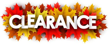 Autumn paper clearance letters over color maple leaves - Vector illustration.