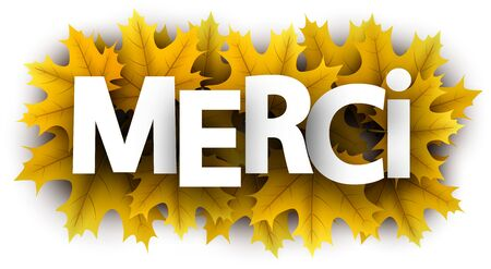 Autumn paper thanks letters over yellow maple leaves - Vector illustration.