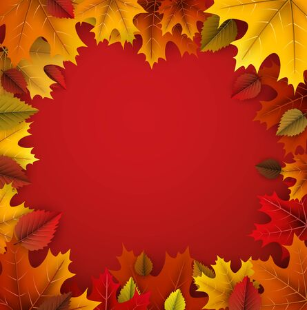 Autumn square background with beautiful colorful maple leaves. Season decoration - Vector