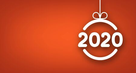 Orange 2020 New Year poster with white abstract Christmas ball. Vector background. Stock Illustratie