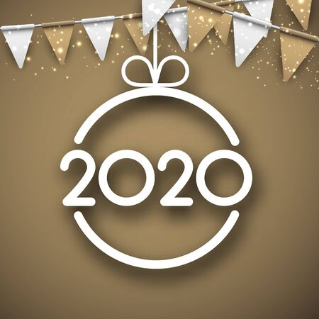 Golden 2020 New Year poster with flags and abstract Christmas ball. Vector background.
