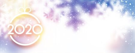 Blurred lilac 2020 Happy New Year horizontal banner with snowflakes. Vector background. Stock Illustratie