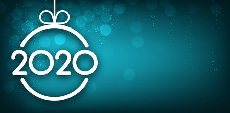 Turquose shiny 2020 New Year banner with Christmas ball and snow. Vector background.
