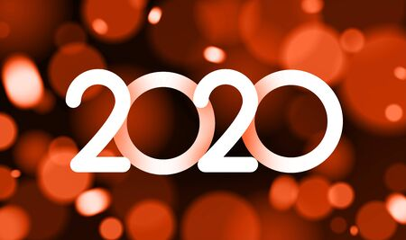 Happy New Year 2020 card with shiny colorful confetti. Vector bokeh background. Stock Illustratie