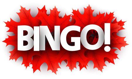 Autumn paper bingo letters over red maple leaves - Vector illustration. Stock Illustratie