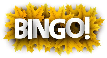 Autumn paper bingo letters over yellow maple leaves - Vector illustration.