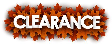 Autumn paper clearance letters over orange maple leaves - Vector illustration.