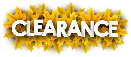 Autumn paper clearance letters over yellow maple leaves - Vector illustration.