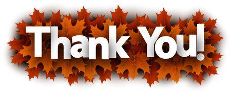 Autumn paper thank you letters over orange maple leaves - Vector illustration. Stock Illustratie