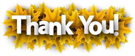 Autumn paper thank you letters over yellow maple leaves - Vector illustration.  Stock Illustratie