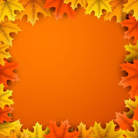 Autumn square background with beautiful colorful maple leaves. Season decoration - Vector Stock Illustratie