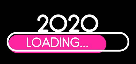 Loading 2020 New Year pink creative festive banner with progress bar. Vector background.