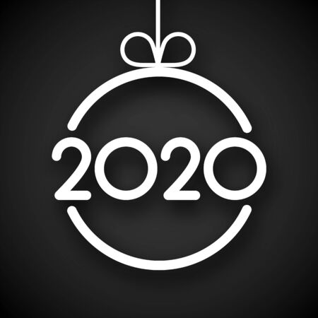 Black 2020 New Year card with white paper Christmas ball. Vector background.