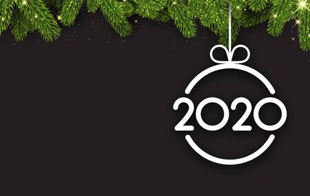 New Year 2020 card with fir branches and abstract flat white Christmas ball. Vector background. Stock Illustratie
