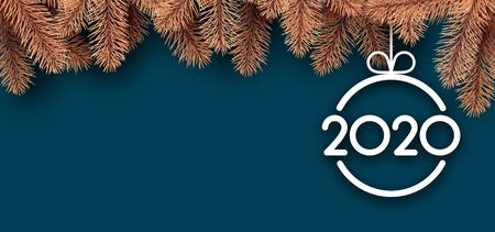 New Year 2020 blue card with golden fir branches and abstract flat white Christmas ball. Vector background.