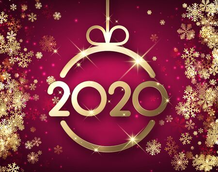New Year 2020 purple card with golden snowflakes and abstract flat Christmas ball. Vector background.