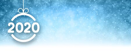 Blue 2020 New Year banner with snow and white paper Christmas ball. Vector background.