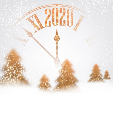 Happy New Year 2020 shiny poster with orange clock and fir trees. Vector background. Stock Illustratie